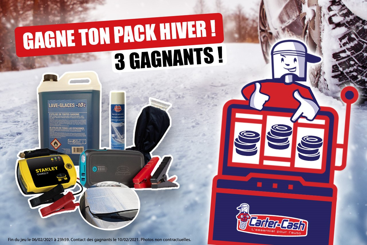 Présentation du jeu concours Carter-Cash et des lots pour le jeu concours l'essentiel pour l'hiver.